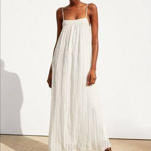 NWT Zara off white flowy dress with wide neckline